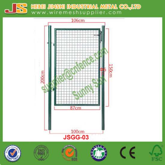 100X150cm Home Yard Metal Fence Gate Green Euro Garden Gate with Safety Lock