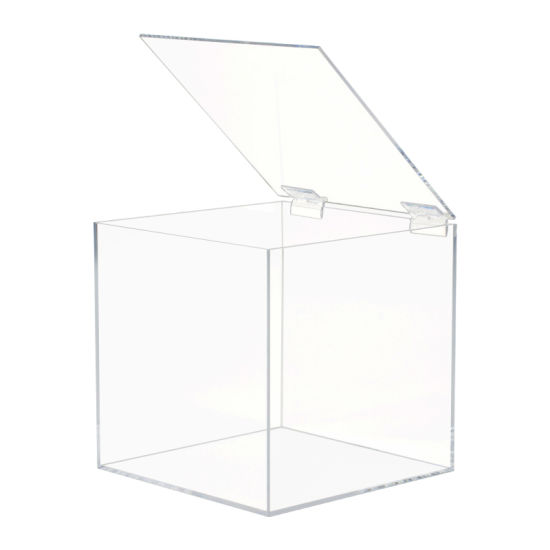 Square Clear Acrylic Storage Display Box with Hinged Lid