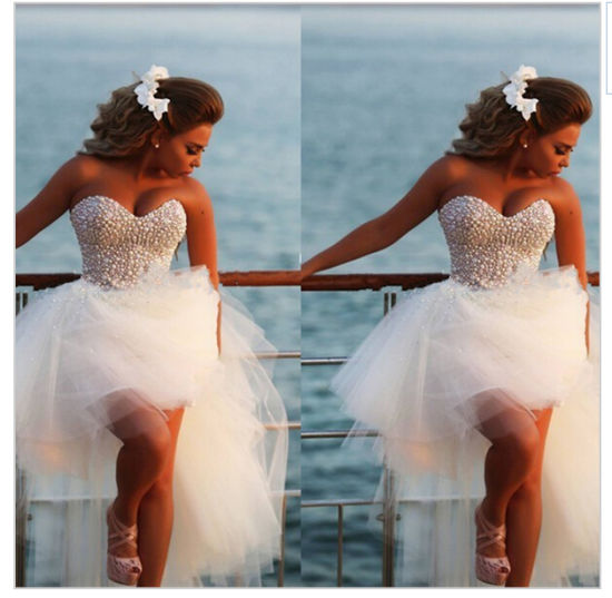 China 2016 New Short Front Long Back Wedding Dress Knee Length ...