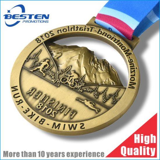 Customize 3D Anti Gold Marathon Running Finisher Race Metal Medal