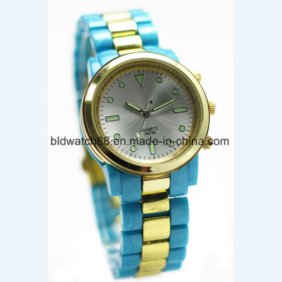 Luxury Mens Designer Metallic Wrist Watch Gold Tone pictures & photos