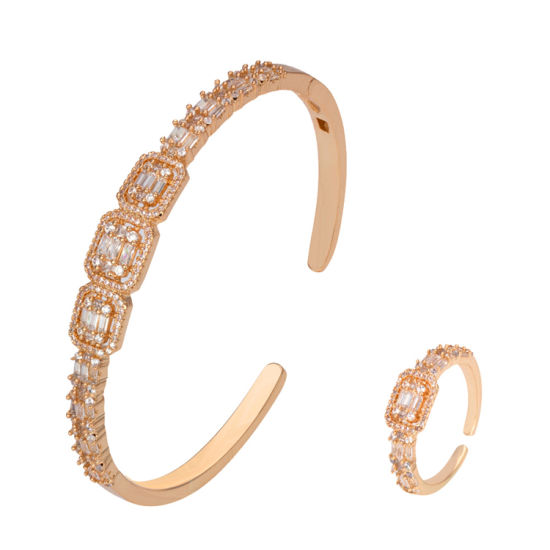Wholesale Dubai Cubic Zirconia Bangles Ring Set Copper Open Bangles for Women