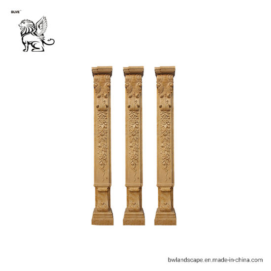 Outdoor Decorative Natural Stone Solid Architectural Carved Marble Column Mcd-01