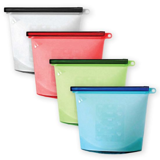 China Fda Reusable Silicone Food Storage Bag Washable Food Preservation Fresh Zipper Bag China Silicone Bag Silicone Storage Bag