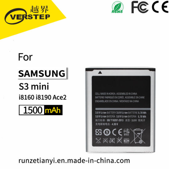 New Mini / Siii Mini Ace 2 Gt-I8160 I8190 Replacement Battery Eb425161lu 1500mAh for Samsung Galaxy S3