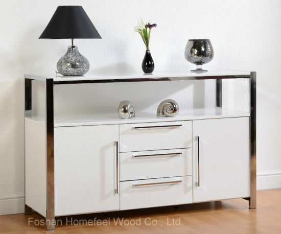 Contemporary High Gloss White Sideboard Dining Room Storage Unit  (HF EY08045)
