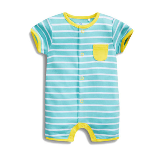 Comfortable Soft Cotton Dyeing Striped Cute Baby Romper