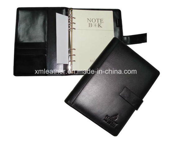Black A5 PU Leather Notebook with Ring Binder