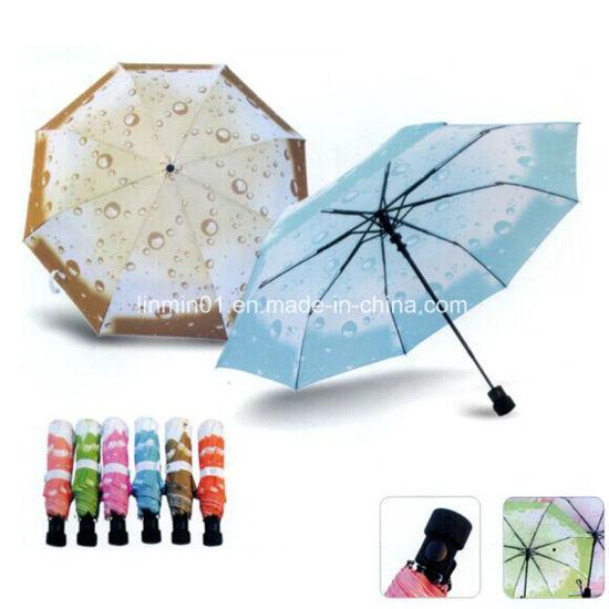 Custom Raindrop Antomatic Open Folding Umbrella with Printing for Lady
