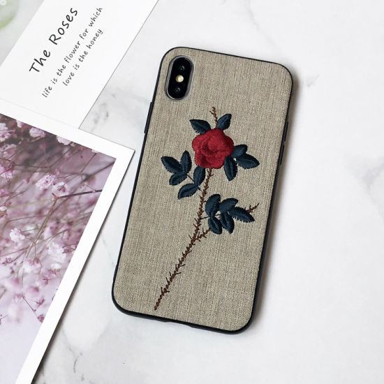 2019 New Arrival Embroidery Flower Mobile Phone Case Soft Silicone Phone Cover Shell for iPhone X 7 7p 8p