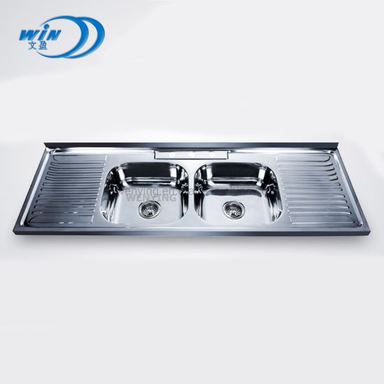Hot Sale Double Bowl with Drainboard Stainless Steel Kitchen Sink in The Middle East Market 15050d pictures & photos