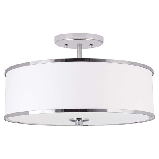 Jlc-H13 Modern Fabric Drum Shade Semi Flush Mount Ceiling Lamp