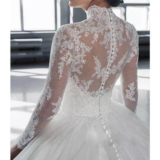 New Style High Neck Lace Embroidery White Ball Gown Wedding Dress 2019 China Wedding And Wedding Dress Price Made In China Com