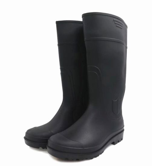 Black Colour Safety Rain Boots with Steel Toe in Guangzhou