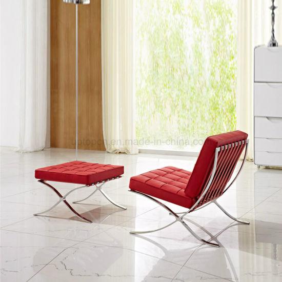 China Novel Graceful Leisure Leather Lounge Barcelona Sofa Chair