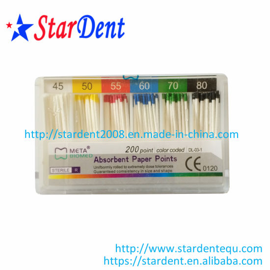 Taper 0.02 Dental Meta Color Coded APP Absorbent Paper Points (200 point) pictures & photos