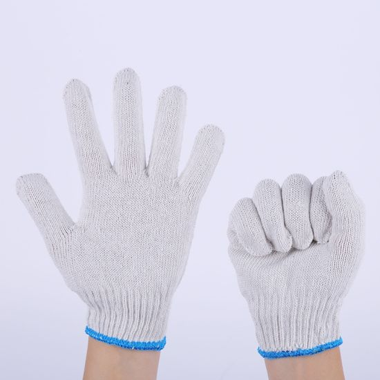 Wholesale White Cotton Working Gloves Knitted Protective Hand Safety Gloves