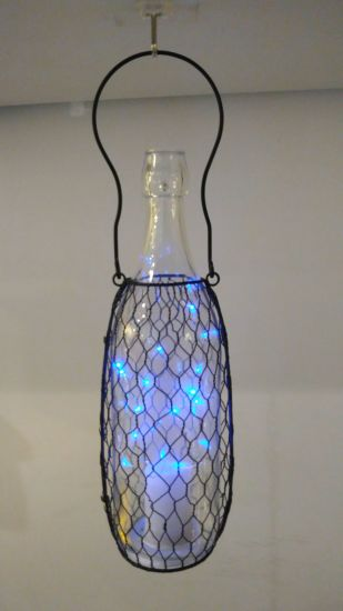 Hanging Retro Style Firefly LED Bottle Lantern with Iron Net pictures & photos