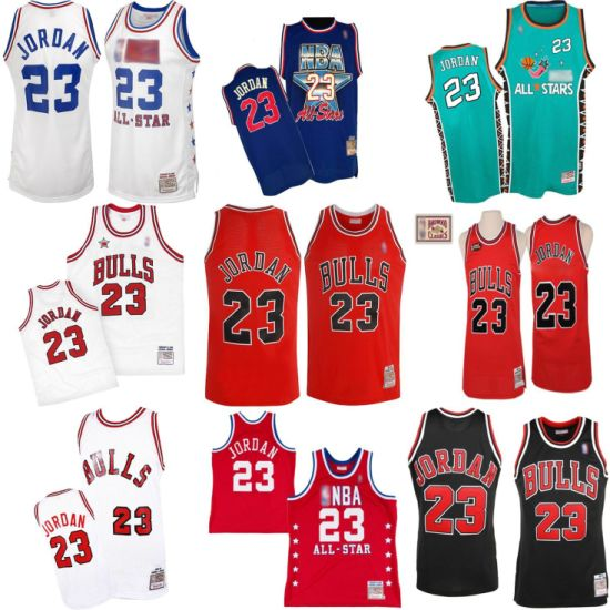 b18ab4b9af4c Chicago Bulls 23 Michael Jordan Cooperstown Throwback Turn-Back Basketball  Jerseys