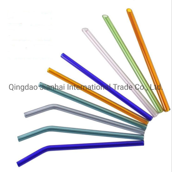 Colored Glass Straw Curved Straw Juice Drink Tube