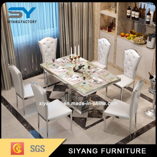 Modern Dining Room Furniture Marble Top Stainless Steel Dining Table pictures & photos
