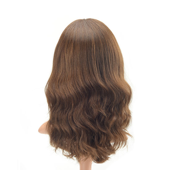 Long Hair Long Layer Light Brown Tone Wavy European Virgin Hair Human Lace Wig pictures & photos