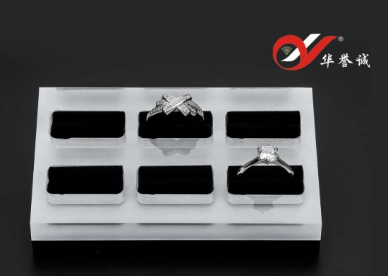 6 Units Rectangle Acrylic Ring Display Stand