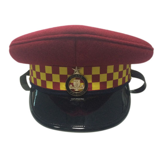 Custom High Quality Red Police Cap Military Visor Hat pictures & photos