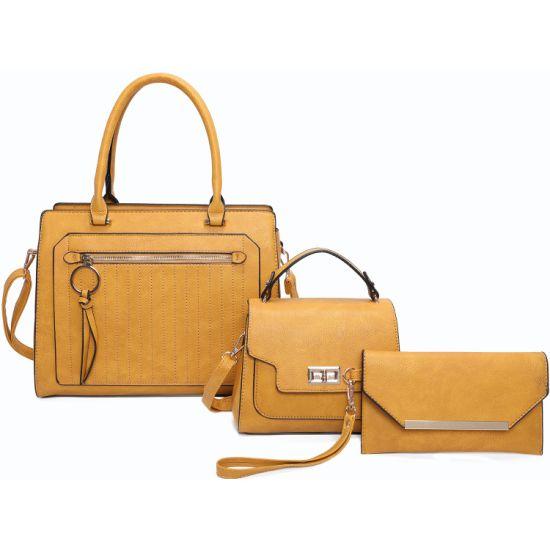 Wholesale Lady PU Vegan Leather Lady Fashion Designer Luxury Handbag Satchel Bag with 3PCS Set