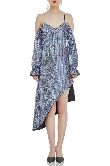 P1706-0096 Contemporary Fashion Women Shinning Silver Sequins Cocktail and Evening Party Dress