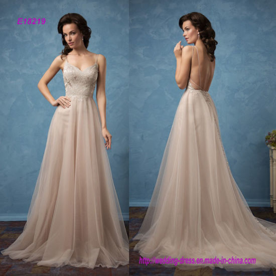 a8aabbab48e China Sexy Backless Spaghetti Straps Floor Length A-Line Prom Dress ...