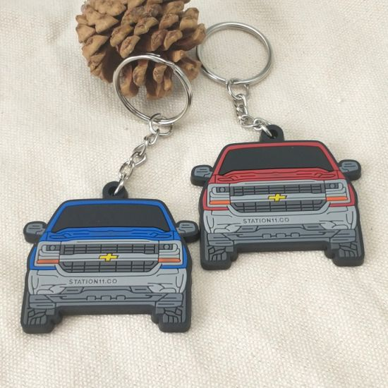 Manufacturer Custom PVC Material Personalized Go-Anywhere Vehicle Automobile Club Promotional Gift Decoration Rubber Plastic Keyring