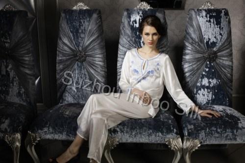 White Silk Pajamas Suit