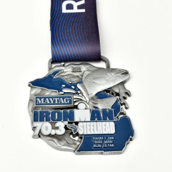 Factory Custom Metal Marathon Sport Event Medal with Ribbon