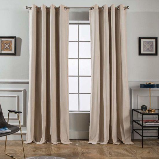 Beige 100 Blackout Velvet Curtains For Bedroom Living Room