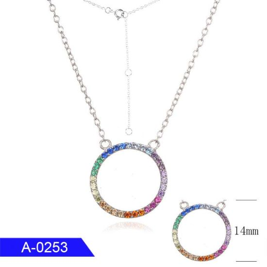 New Fashion Cheap Minimalist Jewelry 925 Sterling Silver Multicolor CZ Necklace for Women
