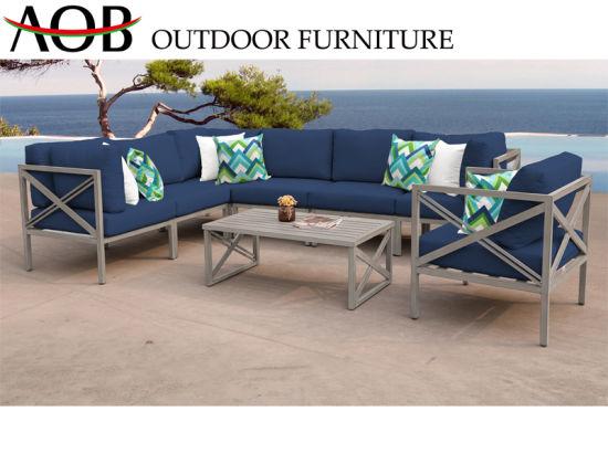 Wholesale Modern Outdoor Garden Home Hotel Livingroom Furniture Patio Leisure Beach Sets Aluminium Corner Sofa with Back Pillow