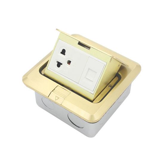 Brass Material Single Pop up Type Floor Socket Box with Us Socket Cat 6 RJ45 Data