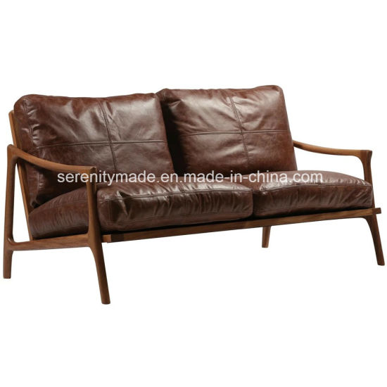 Vintage MID Century 2 Seater Wood Frame Modern Brown Leather Sofa