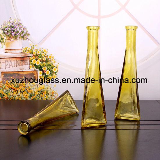 China Colored Glass Vase Triangle Custom Made Glass Vases China