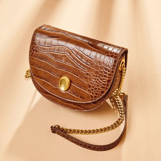 New Design Crocodile Grain Leather Ladies Saddle Shoulder Handbags
