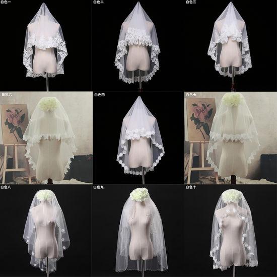 Wholesale Short Lace Edge Soft Tulle Bridal Wedding Veils 2018