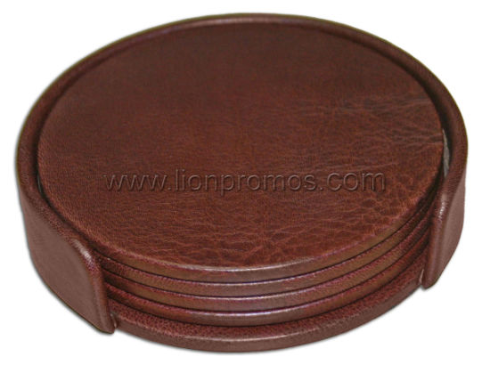 Logo Emboosed Stamped Hotel Restaurant Bar PU Leather Coaster Set
