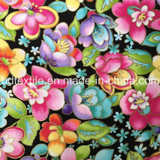 Reactive Printed Flower Cotton Printed Fabric for Chirden Dress pictures & photos