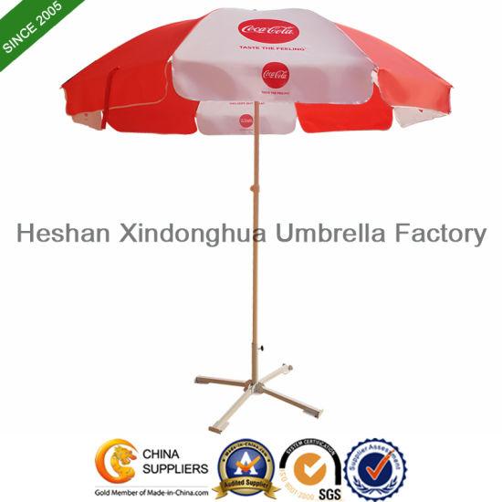 China Coca Cola Outdoor Promotional Sun Umbrella With Tilt Bu