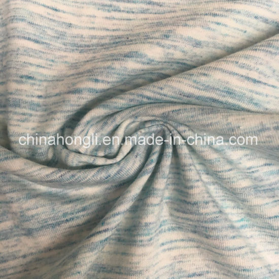 Space-Dye Single Jersey Cotton/Poly/Spandex 60/35/5, 200GSM, Knitting Fabric for T-Shirt