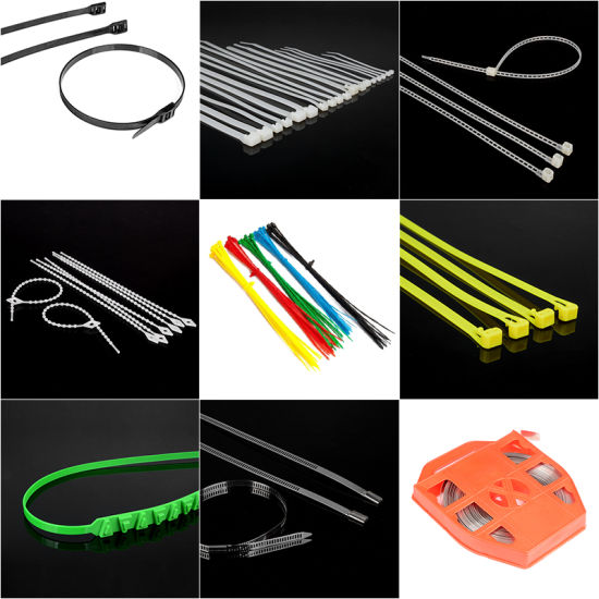 One-Step Injection Insert Pull Fasten Electric Wire Cable Tie for Bags