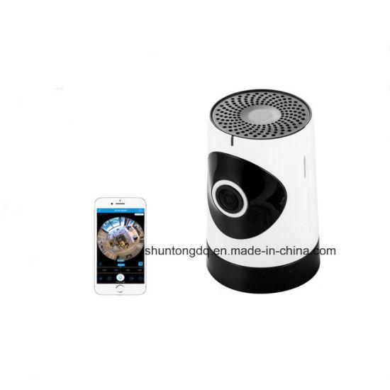 Mini 1MP 720p HD Fisheye 185 Degree Panorama Mini Wireless WiFi IP Camera Two Way Audio SD Card Security CCTV Vr Camera White