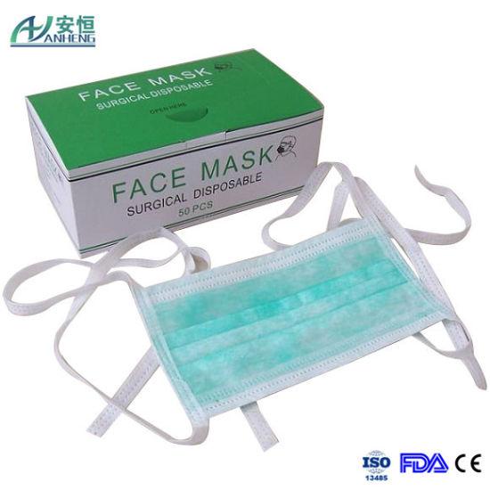 Medical Doctors Mask Tie On Face Polypropylene Blue