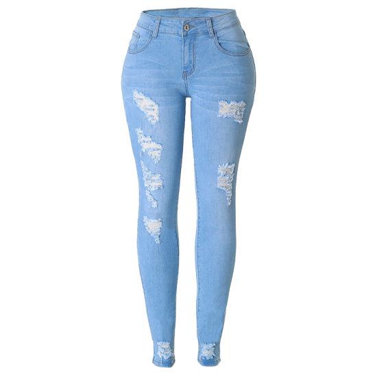 7d516a06232c China OEM Brand Light Blue Damaged Distressed Skinny Denim Jeans ...